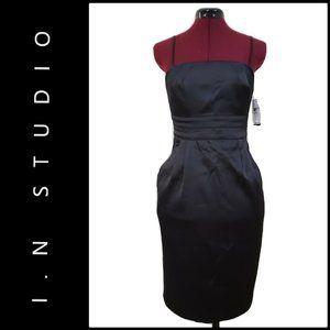 I.N. Studio Women Sheath Dress Size 8P Black Nwt